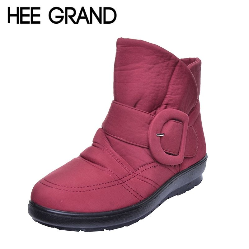 HEE GRAND Plus Size 35-42 Waterproof Woman Boots High Quality Big Buckle Warm Fur Mother Snow Boots Winter Shoes Woman XWX5569