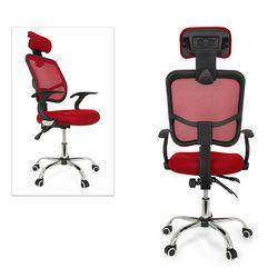 NOCM de ajuste de altura del asiento Oficina escritorio de la computadora silla cromo malla ventilar asiento color: rojo