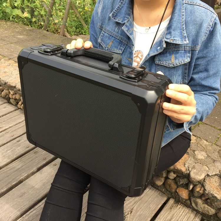 Aluminum Tool case suitcase toolbox File box Impact resistant safety case equipment camera case with pre-cut foam lining