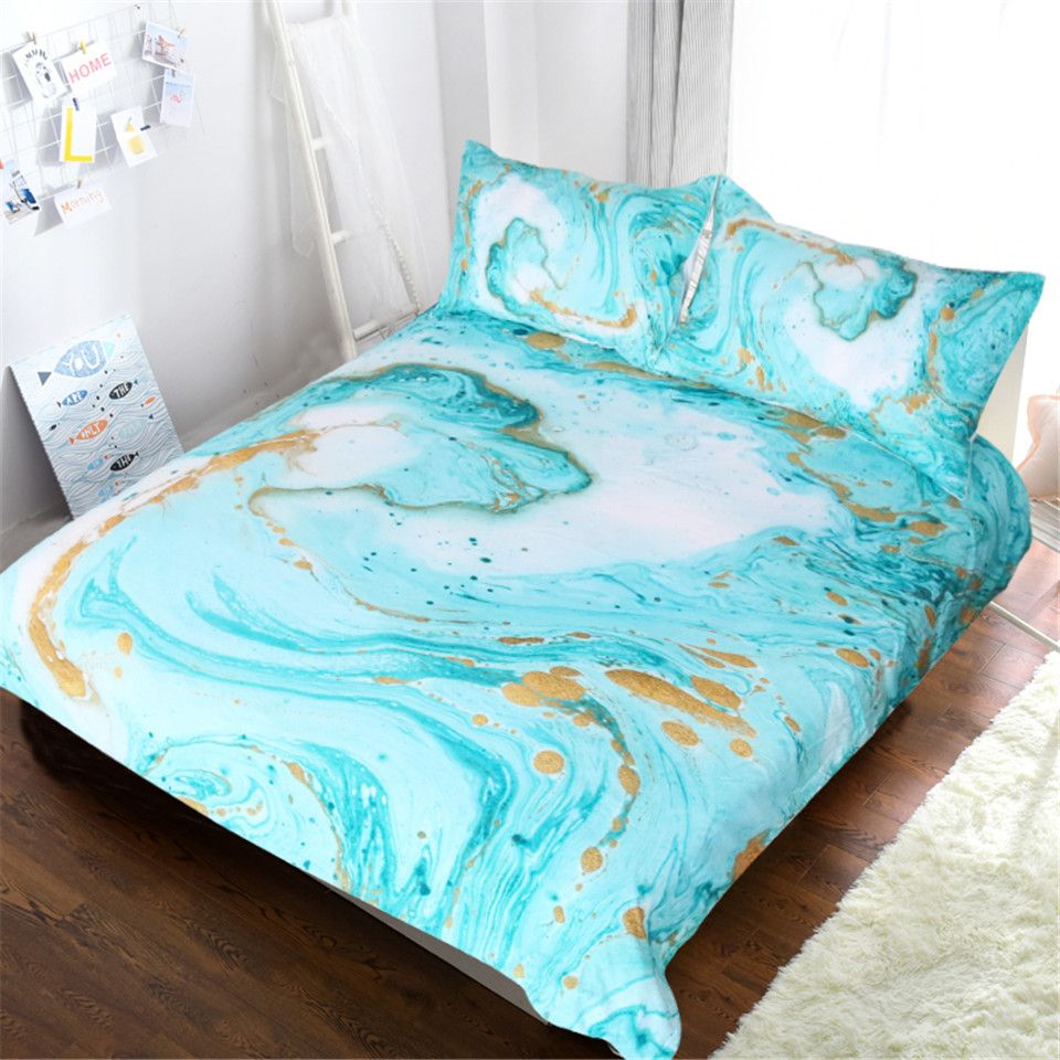Blessliving Chic Girly Marble Duvet Cover Mint Gold Glitter Turquoise Bedding Comforter Set Abstract Aqua Teel Blue Quilt Cover