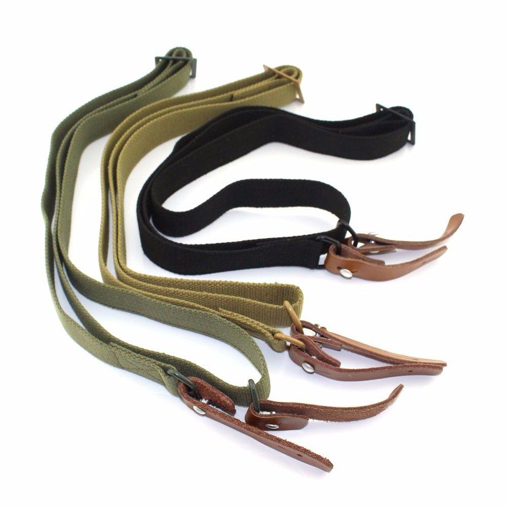 Tactical Adjustabl AK 47 / 74U Canvas/Leather Heavy Duty Cotton Webbing Military Rifle Sling Hunter Belt