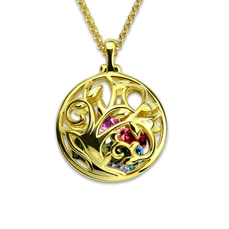 Gold Color Necklace Round Cage Family Tree Birthstone Necklace Tree of Life Jewelry Gift for Her