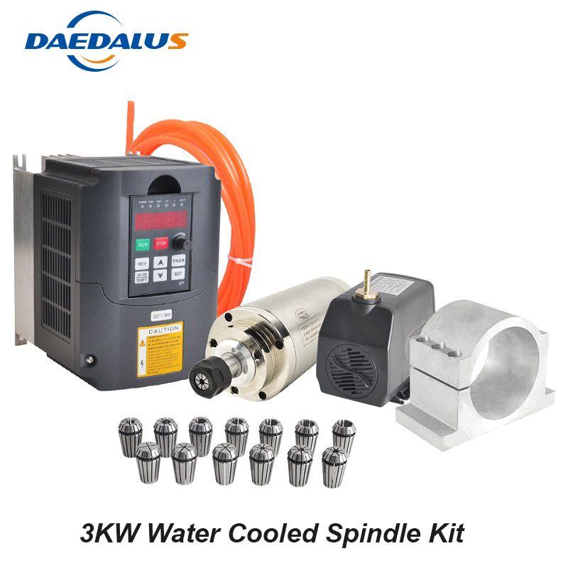 3KW Wasser Gekühlt Spindel 220 V CNC Spindel Motor 3KW VFD Inverter Konverter 100 MM Montage Clamp 13 stücke ER20 collet 75 W Wasserpumpe