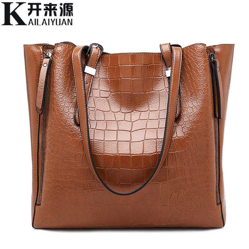 KLY 100% Genuine leather Women handbags 2018 New Fashion one shoulder portable ladies big bag multi-function crocodile pattern