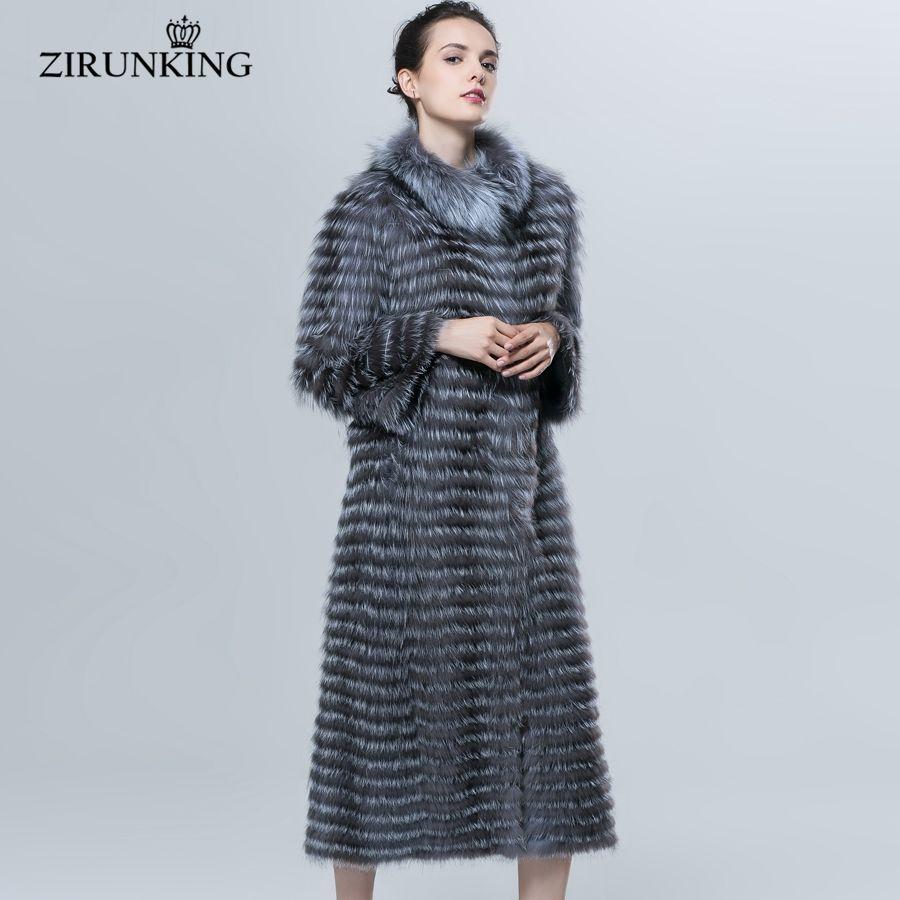 ZIRUNKING Herbst Winter Luxus X-Lange Stil Echt Silber Fuchs Pelzmantel Natürliche Farbe Pelz Kragen Stripped Syle Oberbekleidung ZCW-18YL