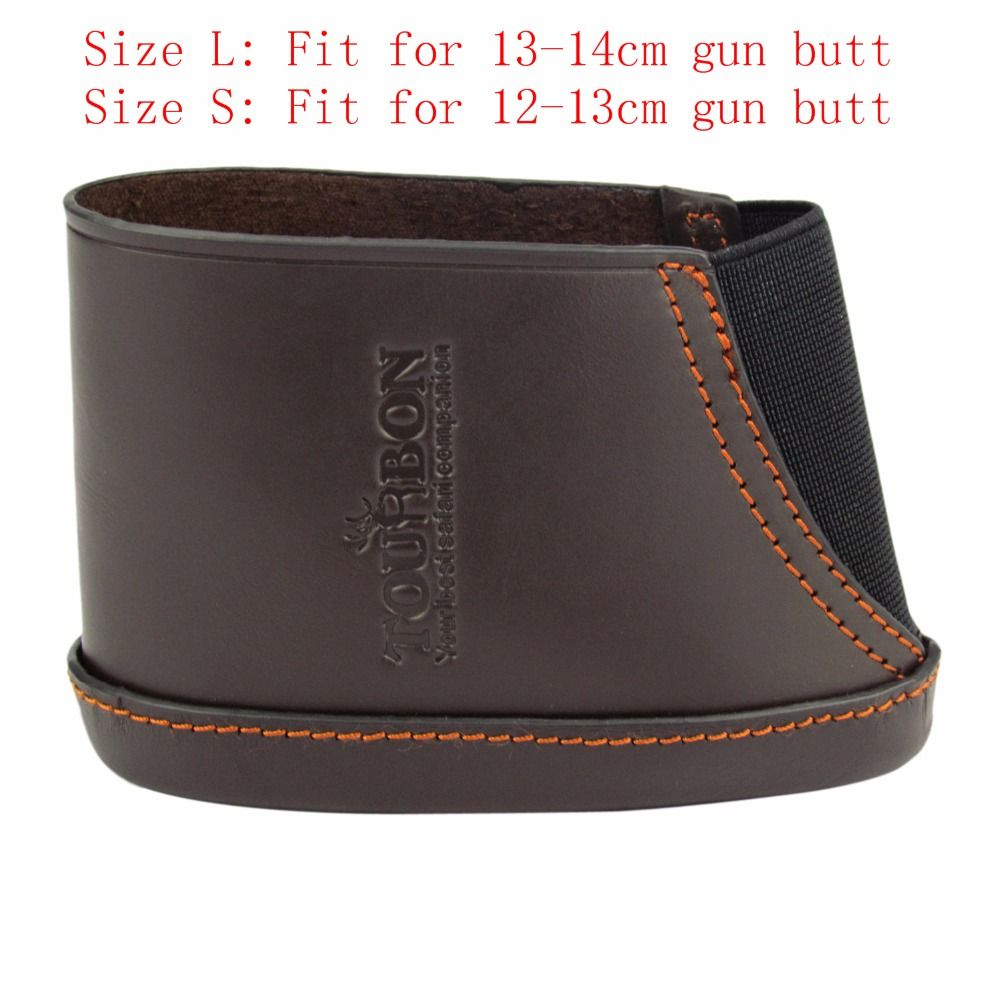 Tourbon Hunting Gun Accessories Gun Recoil Pad Leather Rifle Shotgun Buttstock with 3 Inserts Adjustable Protector for Shooting
