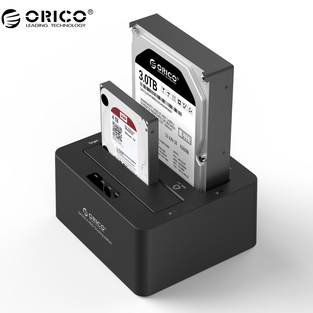 ORICO Dual Bay SATA to USB 3.0 External Hard Drive Docking Station for 2.5/3.5HDD with Duplicator/Clone Function-Black