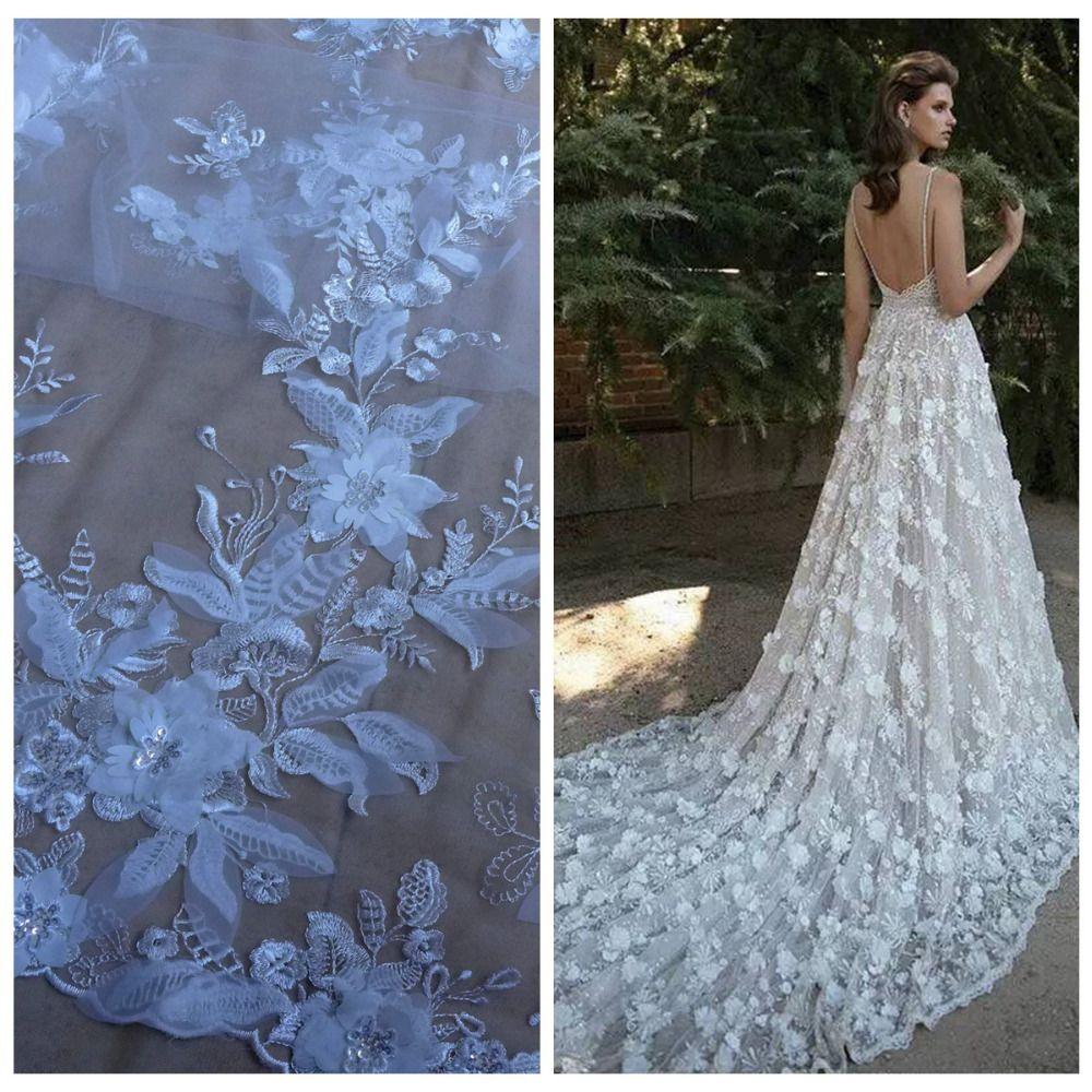 La Belleza 1 cour Blanc Cassé/Noir 3D fleurs paillettes sur la compensation/tulle brodé de mariage/evinging/spectacle robe dentelle tissu