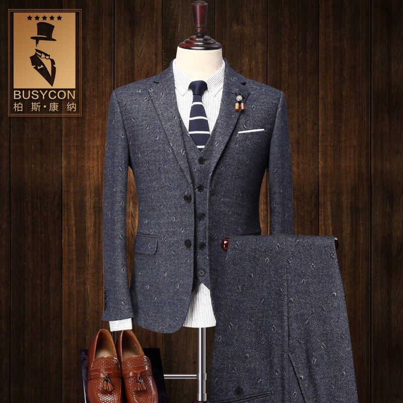 30% Wool Slim Fit 3 Piece Tweed Suit Mens Stage Wear Cotton Mens Suits For Wedding 2016 Latest Coat Pant Designs