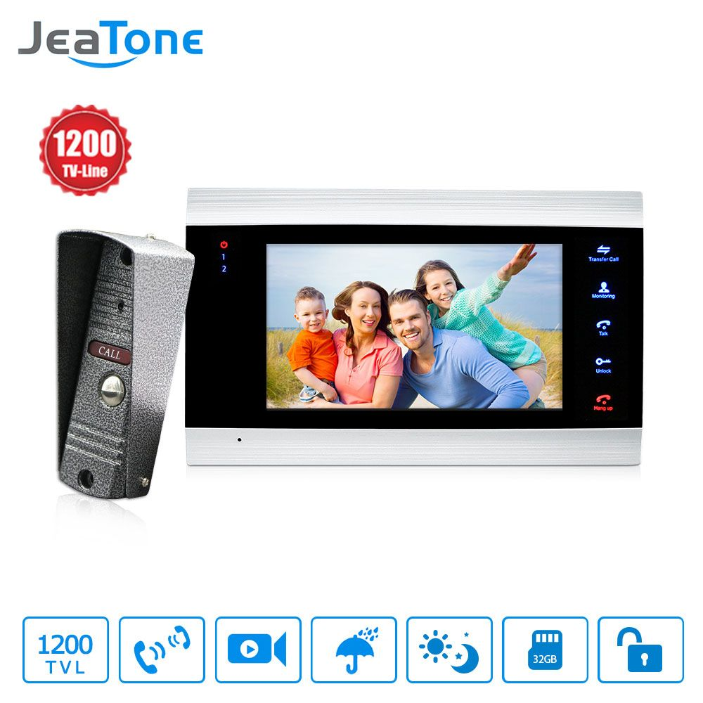 JeaTone New 7 inch Video Doorbell Monitor Intercom With 1200TVL Outdoor Camera <font><b>IP65</b></font> Door Phone Intercom System