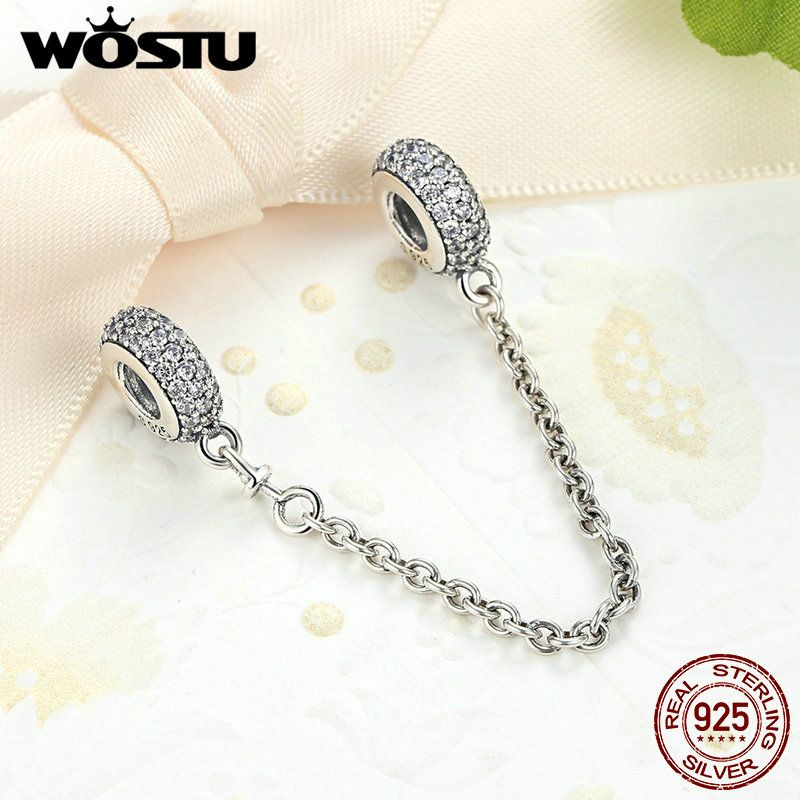 Real 925 Sterling Silver Pave Inspiration Safety Chain <font><b>Charm</b></font> With Clear CZ Fit Original WST Bracelet Authentic Jewelry Gift