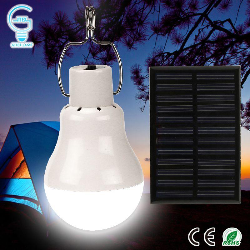 Lumière solaire portative 15 W 130LM lampe à énergie solaire 5 V LED ampoule pour l'extérieur Camping lumière tente lampe solaire