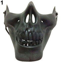 Unisex Retro 3D Tengkorak Kerangka Setengah Wajah Pelindung Masker untuk Halloween Party CS