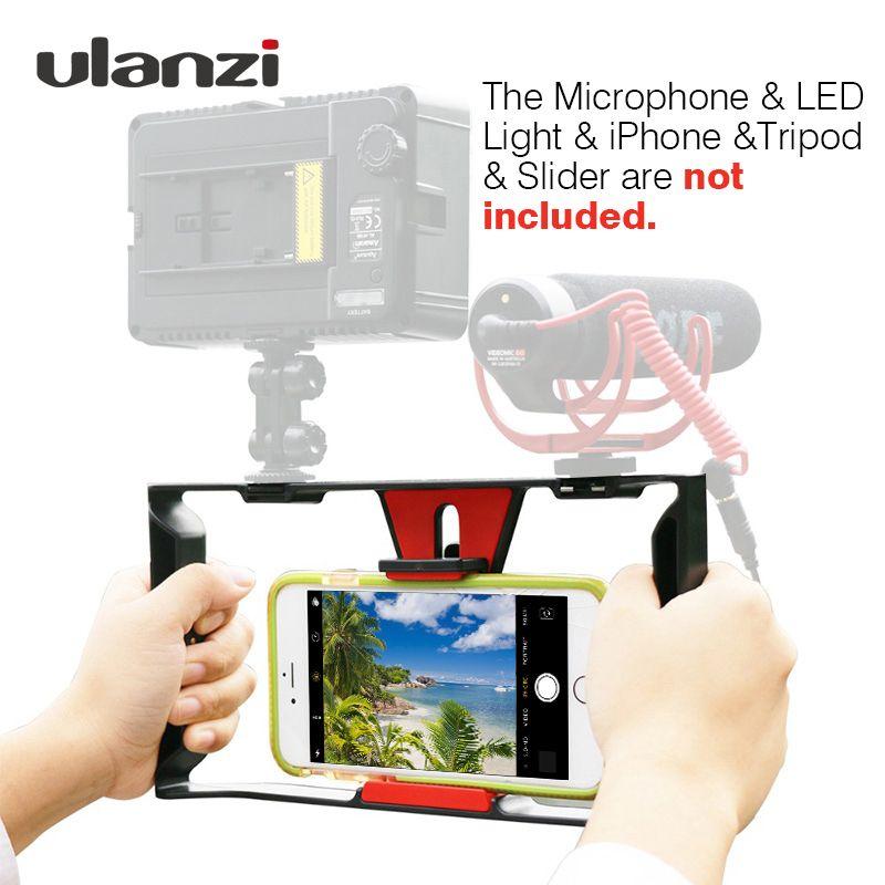 Ulanzi Smartphone Vidéo Plate-Forme Vloguer Record Poignée Plate-Forme Cas Cinéma Stabilisateur Poignée Support de Téléphone pour iPhone X 7 Samsung BY-MM1