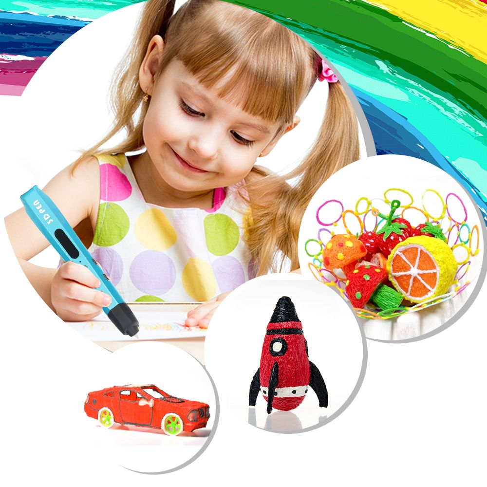New Children Doodle Toy Christmas Gift 3D Pen ADD 50M/100M/200M PLA Filament Temperature Safe 3D Drawing Pens For Children Use