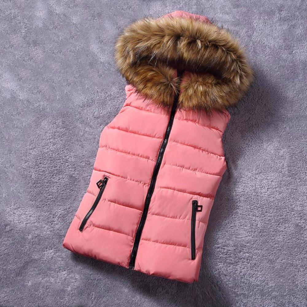 2018 Brand Winter Vest Women Jacket Coat Down Cotton Casual <font><b>Hooded</b></font> Women's Fur Vests waistcoat Female vestidos Large size cloth