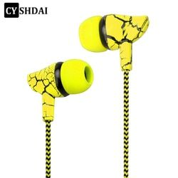 Wired Sport Earphone 3.5mm Super Bass Crack Earphone Earbud with Microphone Hands Free earphone for Samsung MP3 MP4