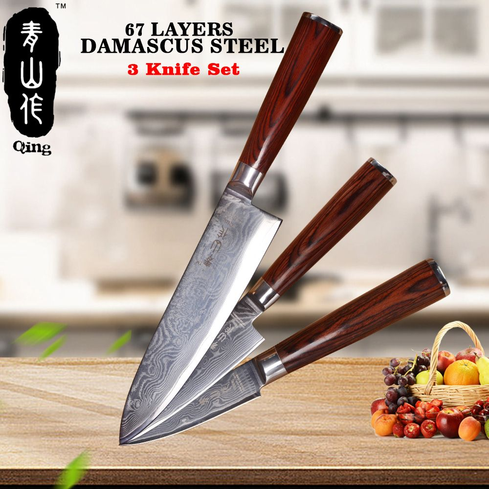 QING Brand Professional Kitchen Knife Top Grade Japanese Damascus Knife 67-Layer VG10 Damascus Steel Kitchen Knife New Arrival