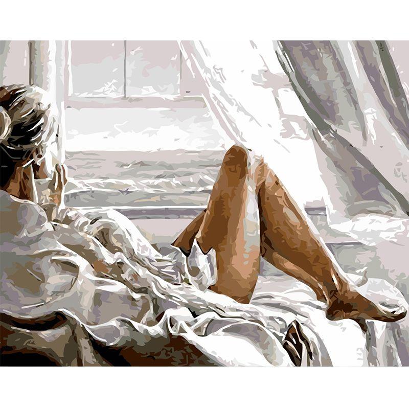 Peinture par numéros bricolage livraison directe 40x50 60x75cm fille bord de mer vacances Figure toile mariage décoration Art photo cadeau