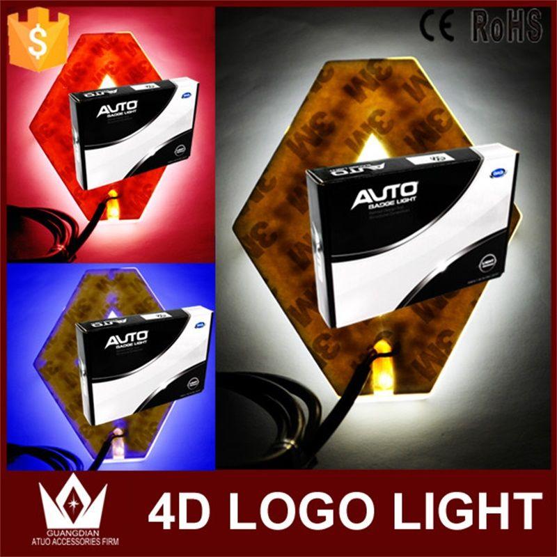 Tcart 1Set 9.4*7.5cm auto front Emblem lamps 4D logo light car badge sticker marker auto led logo lights For Koleos For Renault