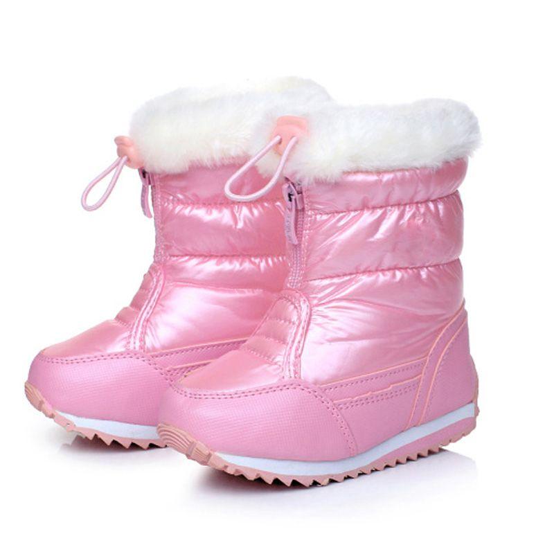 Bonbons Couleur Filles Bottes de Neige Imperméables Hiver Enfants Bottes En Peluche Doublure Chaussures Chaudes Pour Fille Antidérapant