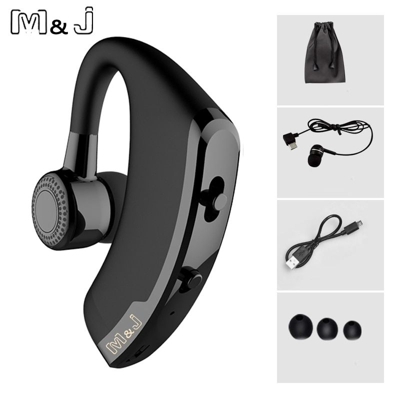 M&J V9 Handsfree Business Wireless Bluetooth <font><b>Headset</b></font> With Mic Voice Control Headphone For Drive Connect With 2 Phone