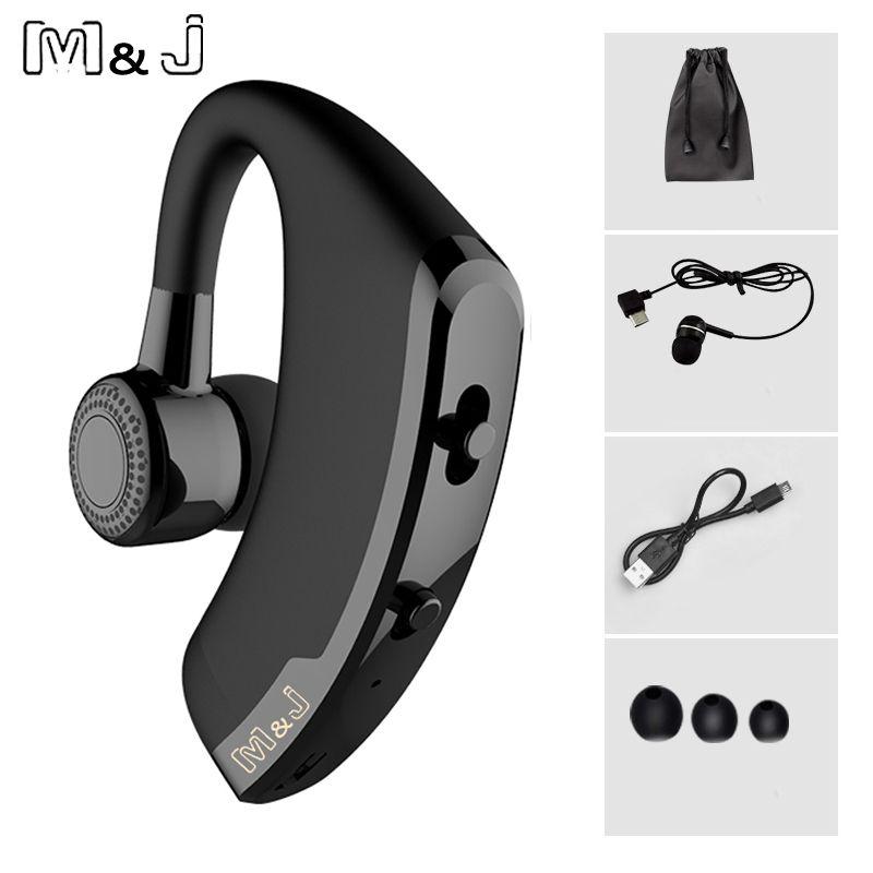 M & J V9 mains libres affaires sans fil Bluetooth casque avec micro commande vocale casque pour lecteur connecter avec 2 téléphone