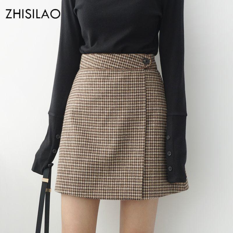 ZHISILAO 2018 femme jupes femme jupe crayon lolita moulante Sexy Winte taille haute Vintage jupon treillis Plaid jupe en laine