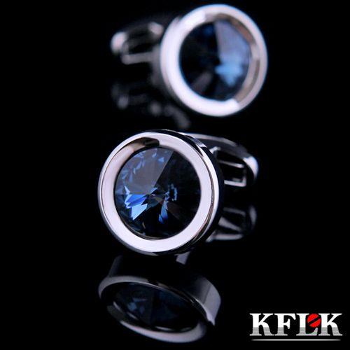 KFLK 2018 Luxury shirt cufflinks for mens Brand cuff buttons wedding Crystal cuff links High Quality Round abotoaduras Jewelry