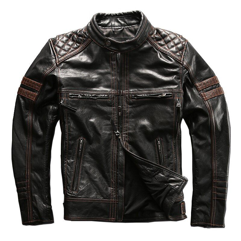 Read Description! Asian size mans genuine cow leather jacket harley motorcycle jacket slim motorcycle cowhide skin leather coat