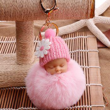 De couchage Bébé Poupée Porte-Clefs Fleur Pompon De Fourrure De Lapin Boule Clés chaîne Moelleux Voiture Porte-clés porte clef Sac porte-clés llaveros chaveiro