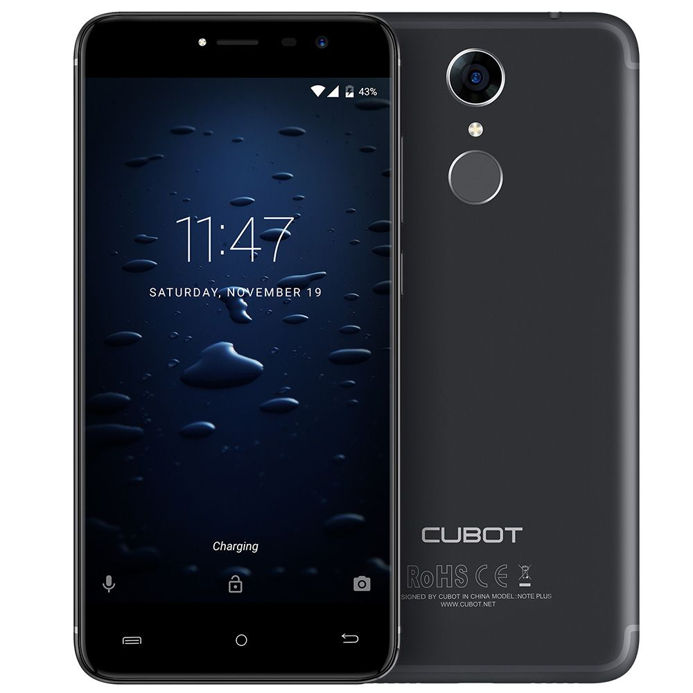 Cubot Note Plus 5.2'' FHD IPS 4G Android 7.0 Mobile Phone 13.0MP Dual Cameras Quad Core 3GB RAM 32GB ROM Smartphone Fingerprint