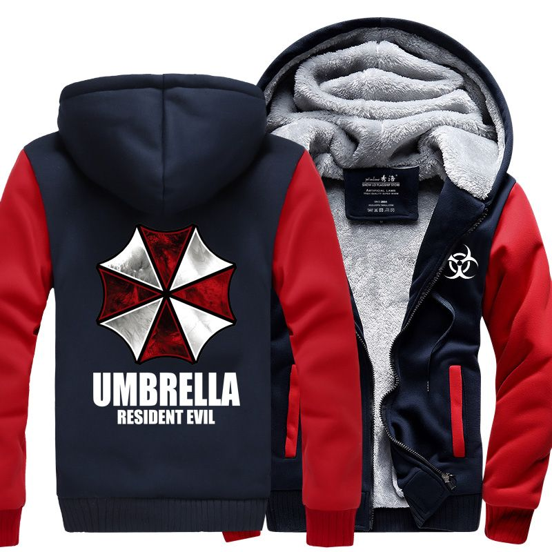 Resident Evil Umbrella Hoodies 2017 winter new warm fleece Anime umbrella men sweatshirts high quality men M-4X