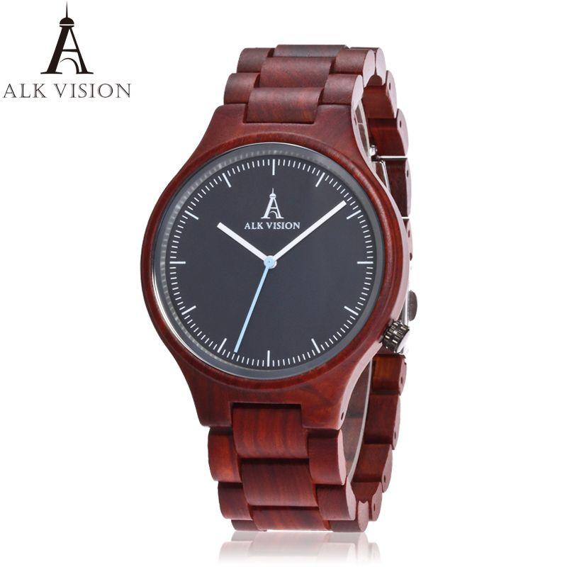 2017 par de reloj de cuarzo de las señoras de moda reloj de madera de madera ocasional amantes de madera reloj de las mujeres de los hombres de primeras marcas de lujo reloj ALQ visión