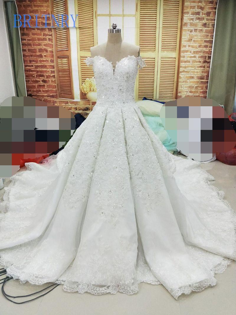 Luxury Beading Wedding Dress Off The Shoulder Ball Gown Tulle Lace Wedding Dress Royal Train Bride Dress Vestidos De Novia