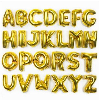 Gold 40cm 16 Inches A-Z Alphabet Foil Balloons English Letters Party Hat Digit Air Ballons Birthday Party for Kids Toys