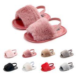 Sandalias del bebé mulit-colores infantiles suela suave felpa diapositivas sandalia verano niño princesa antideslizante cuna zapatos para niñas