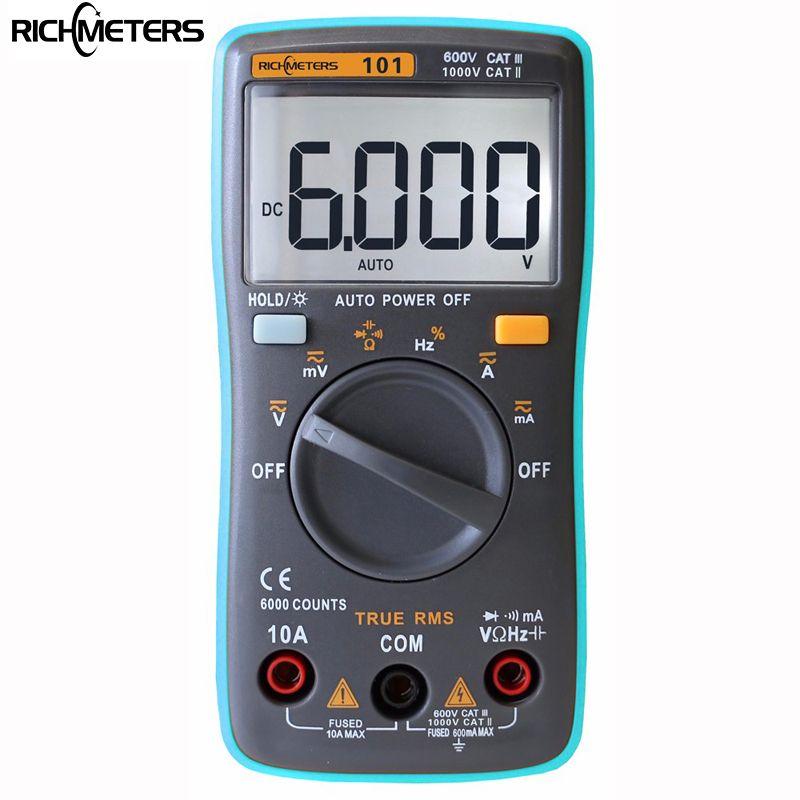 RM101 Multímetro Digital 6000 cuentas de luz de Fondo AC/DC Del Amperímetro Del Voltímetro Del Ohmio Medidor Portátil medidor de voltaje RICHMETERS