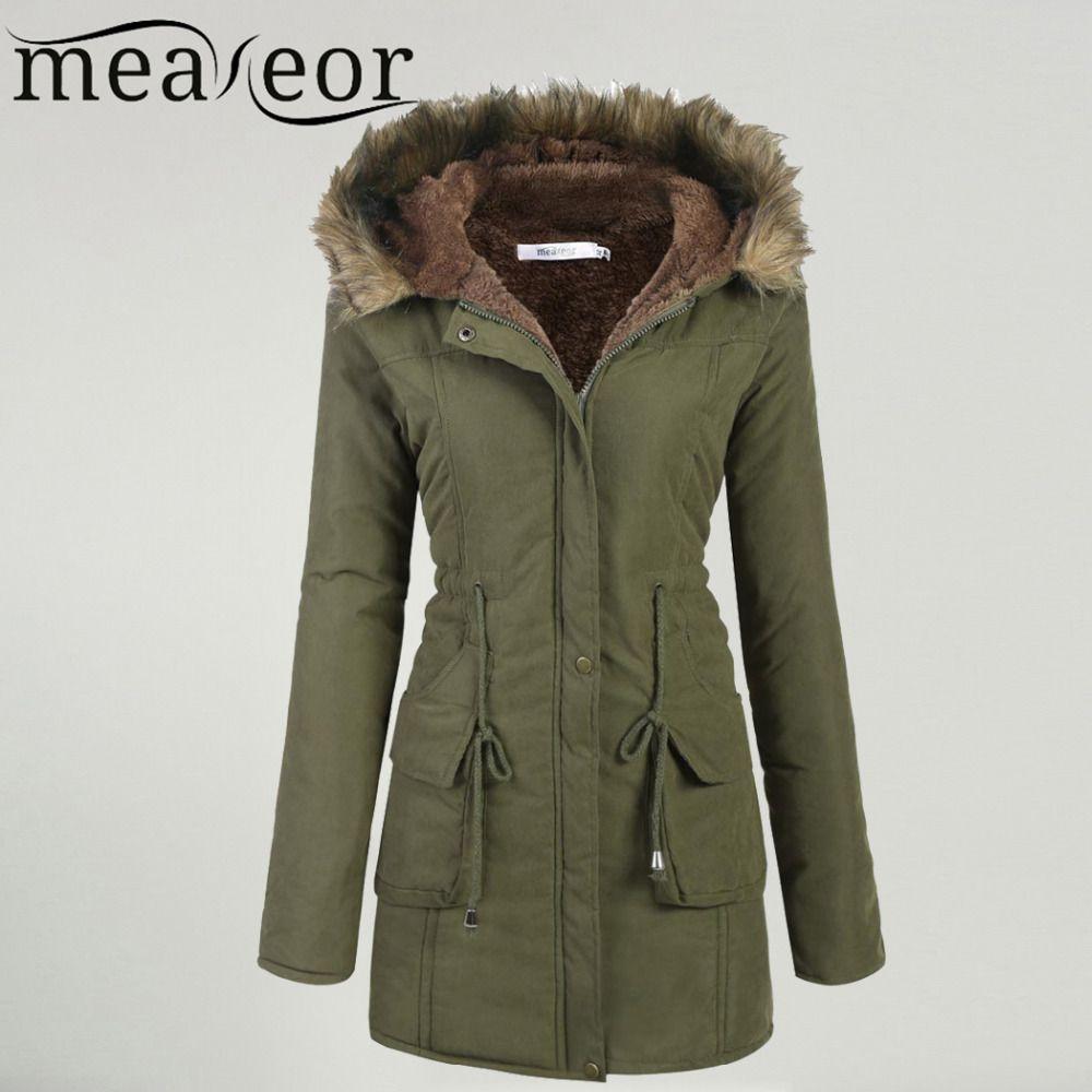 Meaneor Women's Winter Coat 2017 Casual Faux fur Hooded Warm Drawstring Waist Slim Coat Fleece Lined Parka Female Coat Pocket