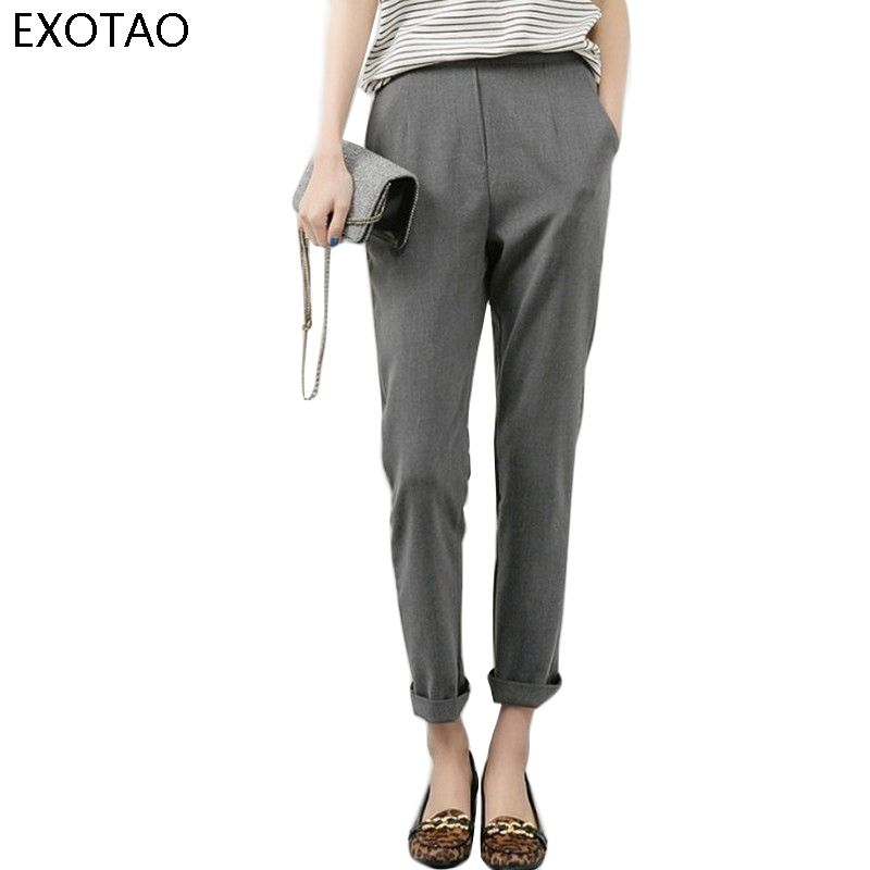 Exotao модные офисные костюм брюки для женщин весна 2017 новая высокая талия Slim-Fit серый черный шаровары укороченные брюки леггинсы Pantalon