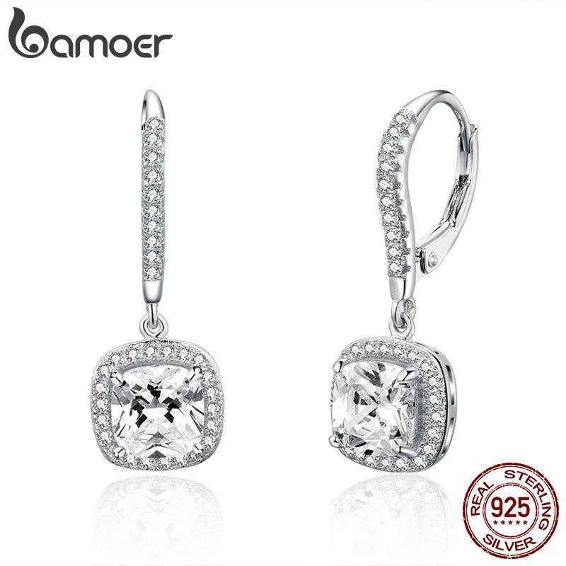 BAMOER Authentische 925 Sterling Silber Dazzling Cubic Zirkon Platz Geometrische Ohrringe für Frauen Hochzeit Schmuck SCE520
