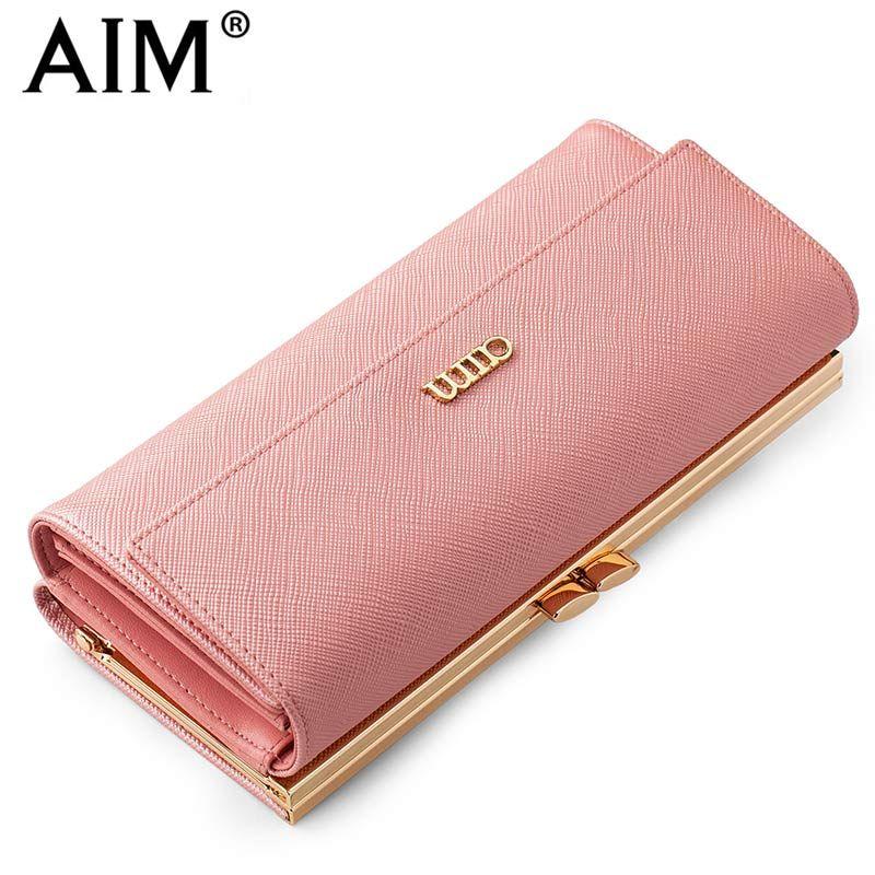 OBJECTIF Mode Femme Sac À Main Longue Conception Rose Femmes Portefeuilles de Haute Qualité En Cuir Femmes Porte-Monnaie Téléphone Carte Titulaire N121