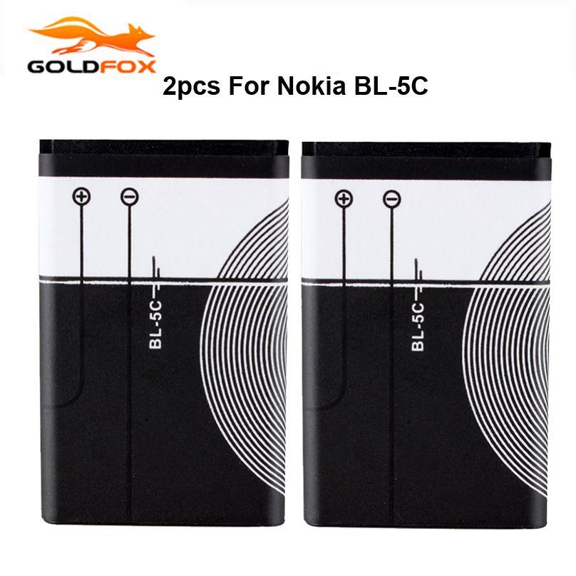 2 Pcs Tout Neuf De Rechange 1020 mah BL-5C Batterie Pour Nokia 1112 1208 1600 1100 1101 Bateria