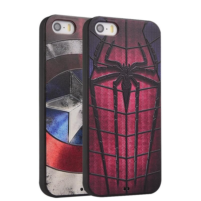 Für iPhone 5 5 s SE 6 6 plus 6 s 7 7 plus Plus fall Marvel Spiderman Captain America Weichen Silicon 3D Stereo Relief Malerei abdeckung