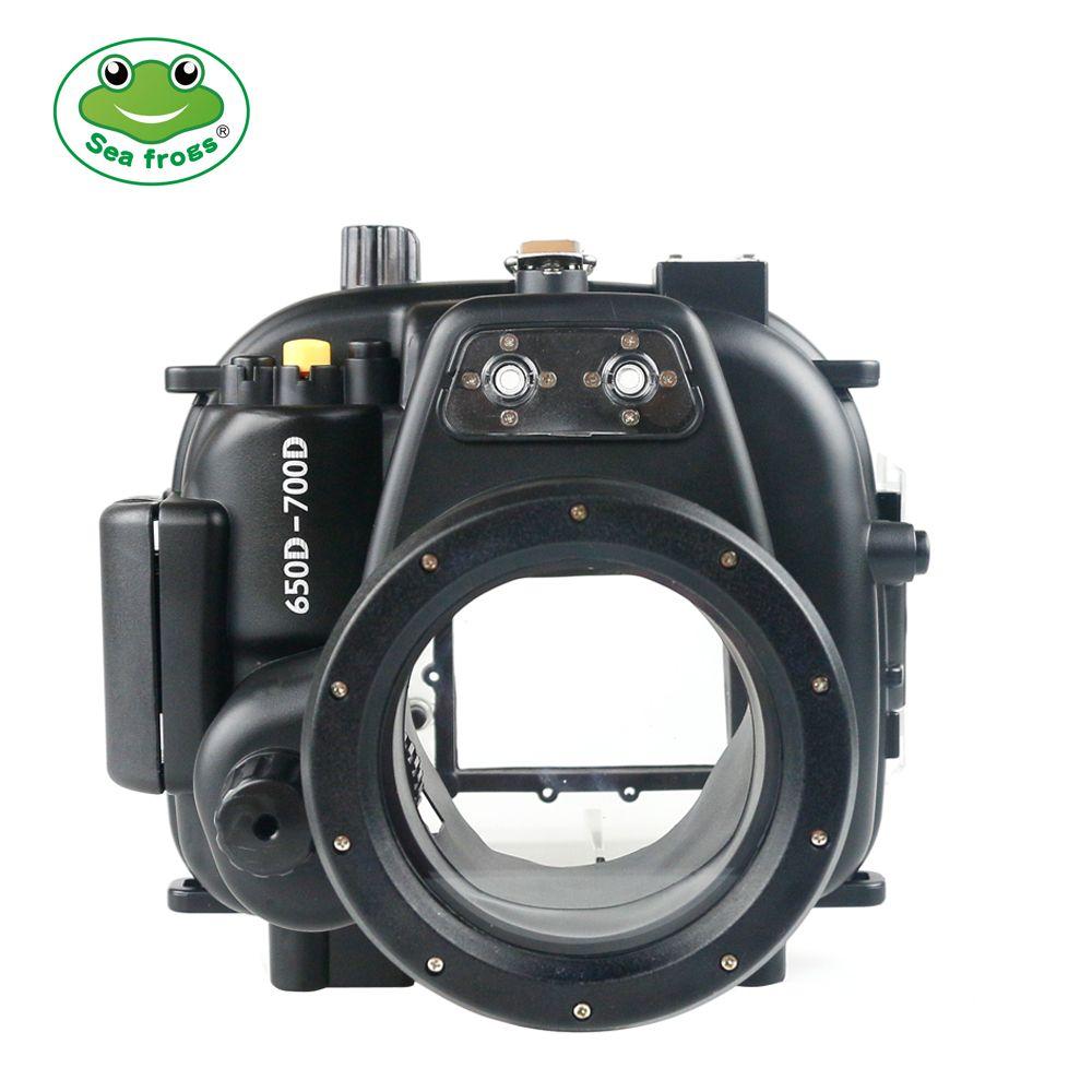 Unterwasser Sport Fotografie für Canon 650D 700D Kamera 18-55mm Gehäuse Scuba Dive 40 m Tiefe Bewertung Impermable fall Wasser Abdeckung