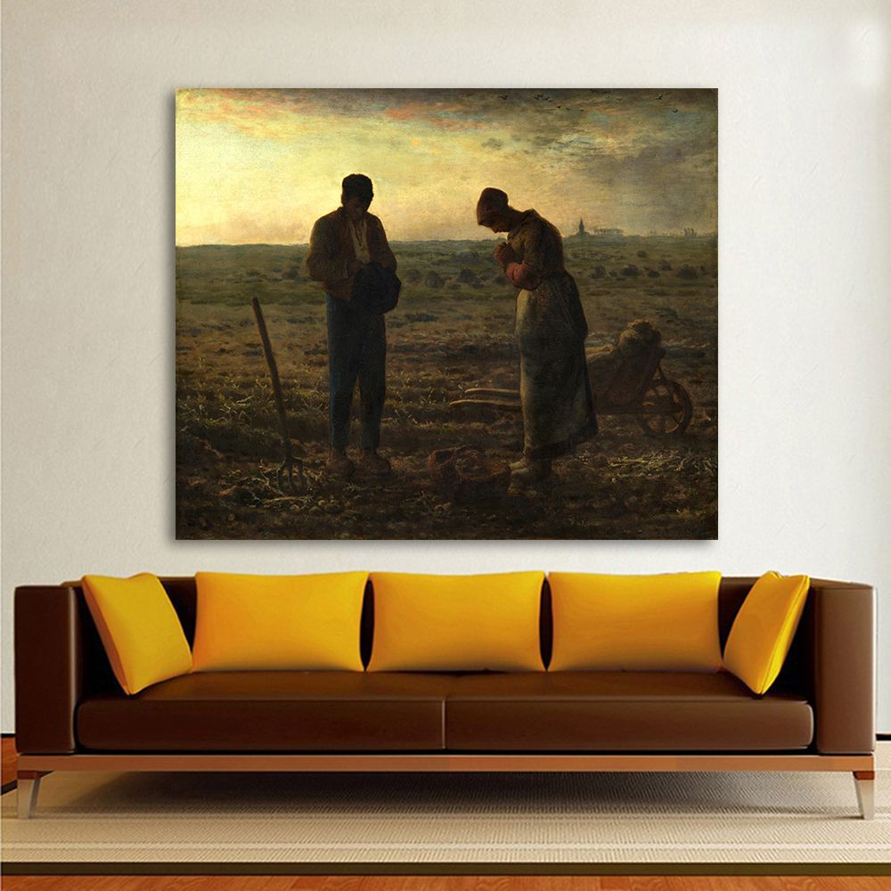 HDARTISAN Realism Figure Oil Painting Jean Francois Millet The Angelus Home Decor Wall Pictures For Living Room Canvas Art
