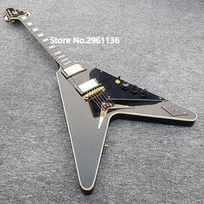 High quality flight v Electric Guitar,Gold Hardware Electric Guitar,Black paint,Real photo showing free shipping