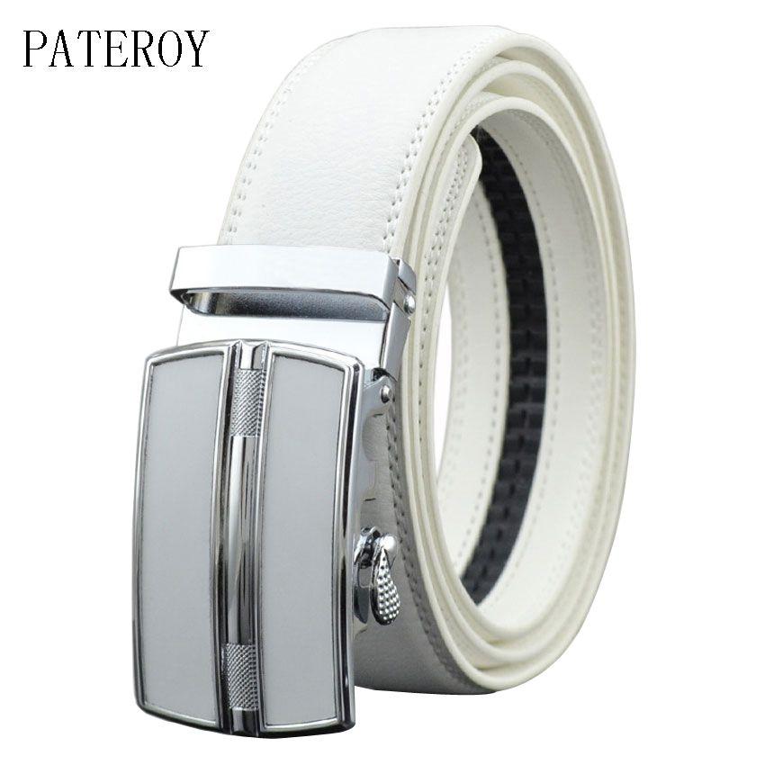 [PATEROY] ceinture Designer ceintures hommes haute qualité mode géométrique métal boucle automatique en cuir véritable marque de luxe ceinture blanc