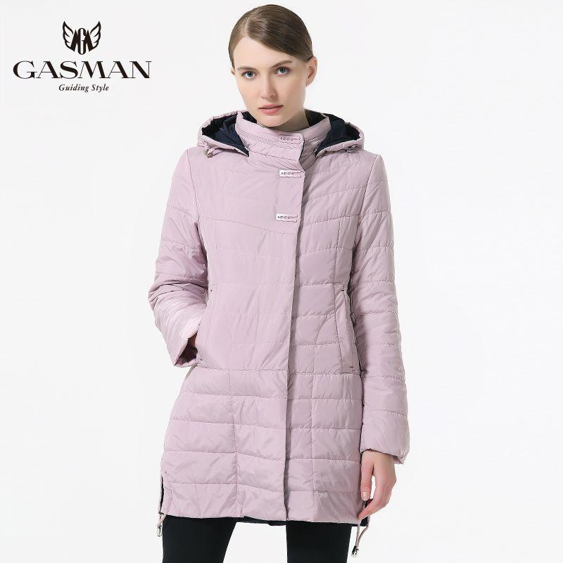 GASMAN 2018 Spring Autumn Coat and Jacket Women Medium Length Outwear Coat Womens Fashion Hooded Thin Cotton Jacket Brand Female