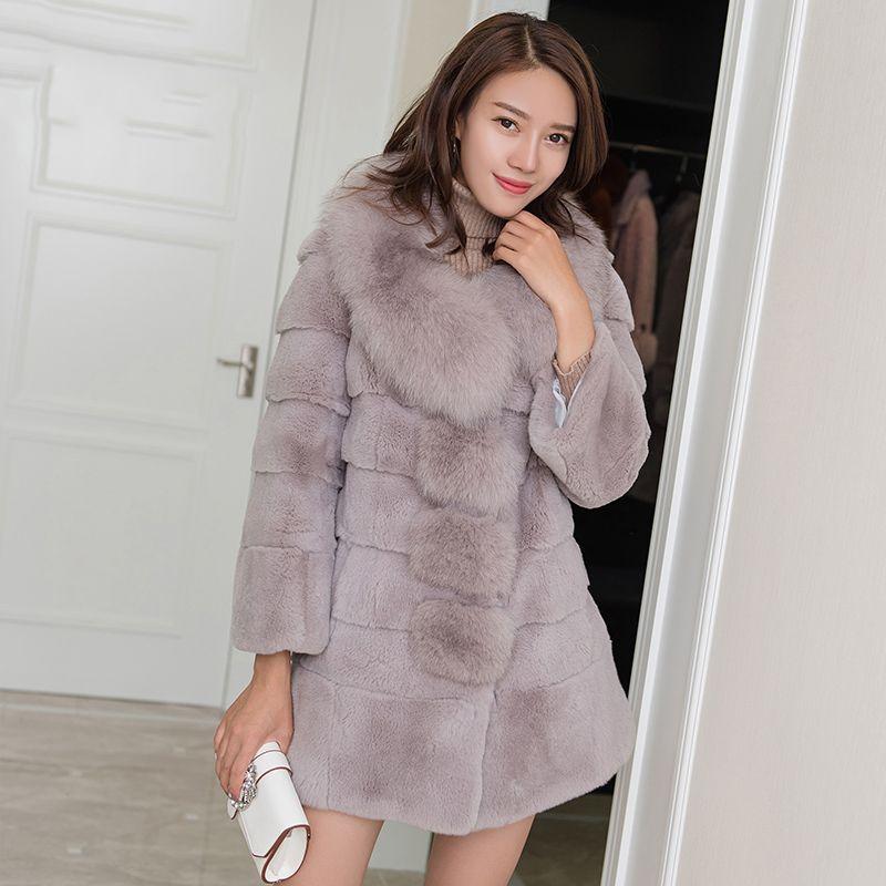 Real for fur collar women's wave cut whole skin rex rabbit fur coats outerwear women thick warm winter overcoat 2018 new autumn